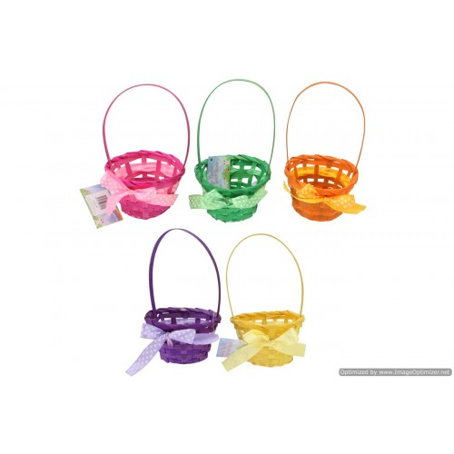 Easter Bamboo Basket With Bow And Handle 11.5x6cm