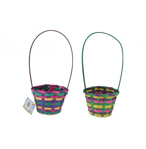 Easter Bamboo Basket Cone With Handle 12x9cm