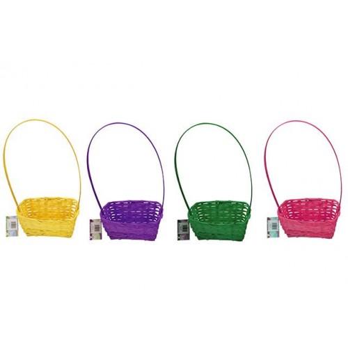 Easter Bamboo Basket Plain Rect 20x15x8cm 4 Asst