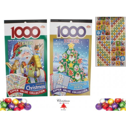 Sticker Book 1000pc 2asst Xmas Value Pk