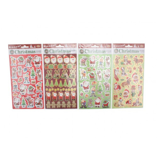 Xmas Stickers 50pk Foil & Glitter Value Pack 2 Asst
