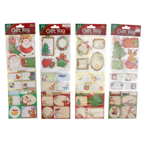Xmas Gift Tag Value Set Prem 42pcs 4 Asst