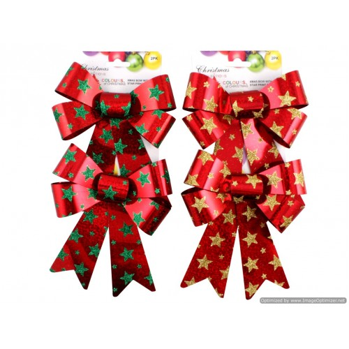 Xmas Bow With Star Print 14 X 17.5cm 2 Asst Clrs