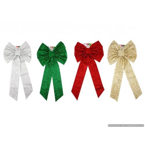 Xmas Fabric Bow 34.3x71cm 2 Asst Clrs
