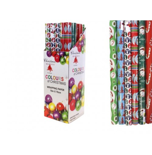 Wrapping Paper 15mx70cm 6 Asst Xmas Designs