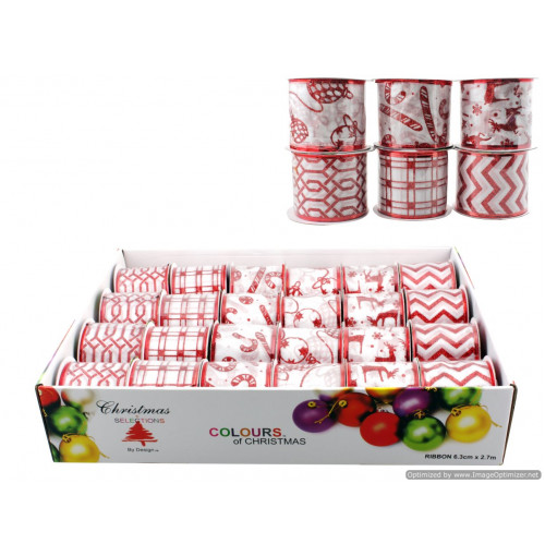 Xmas White With Red Glitter Ribbon 6 Asst Des 6.3cm X2.7m