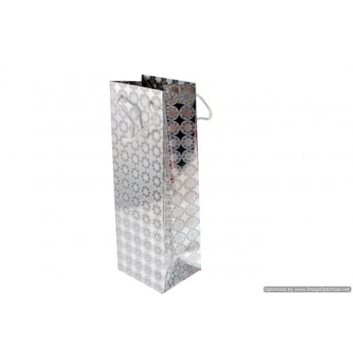 Xmas Hollogram Bottle Gift Bag Clrs 35x12x10cm