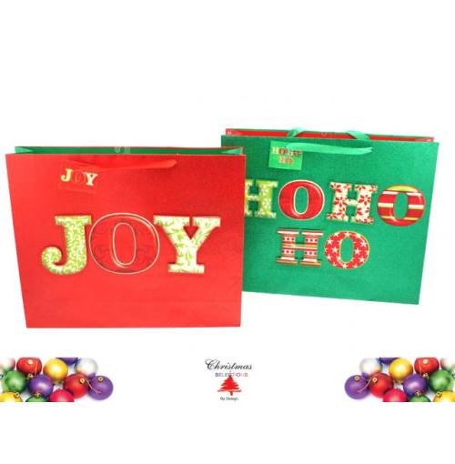 Gift Bag Xmas Joy &Amp; Ho Ho Ho Jumbo 2 Asst