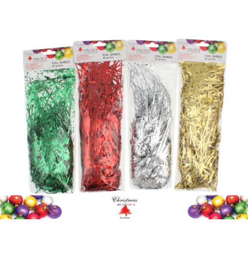 Foil Shred 40gms Red Green Silver Gold