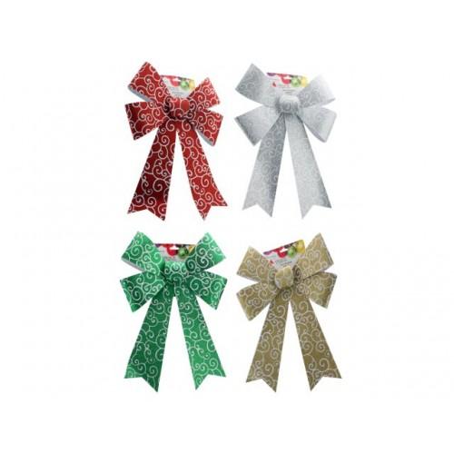 Xmas Bow Ornate Glitter 31x46cm