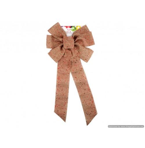 Xmas Burlap Bow W/Glitter 29 X 55cm Red Only