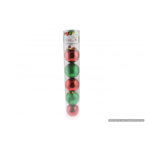Xmas Baubles Red Shiny With Painted Des 100mm 6pk