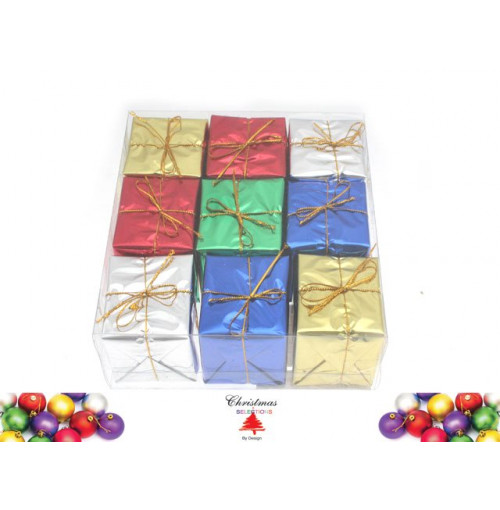 Xmas Gift Box Deco 5x5cm 9pk