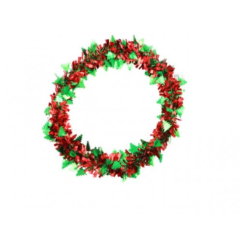 Wreath W/Foil Cut Outs 32cm Tree &Amp; Leaf Design