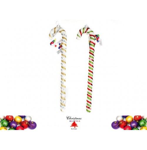 Xmas Candy Cane Foam W/Sequins 34cm