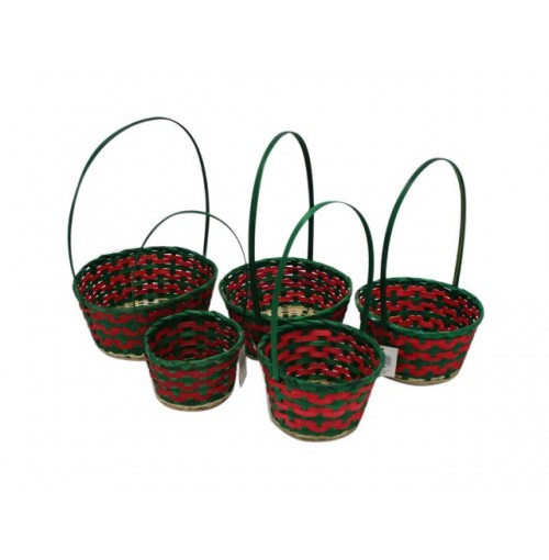 Baskets 5pk 2asst Bamboo W/Tall Hndl