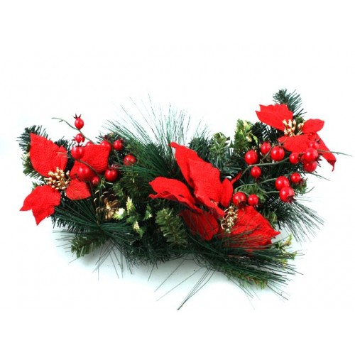 Xmas Hanging Poinsettia & Pine Bunch 60cm