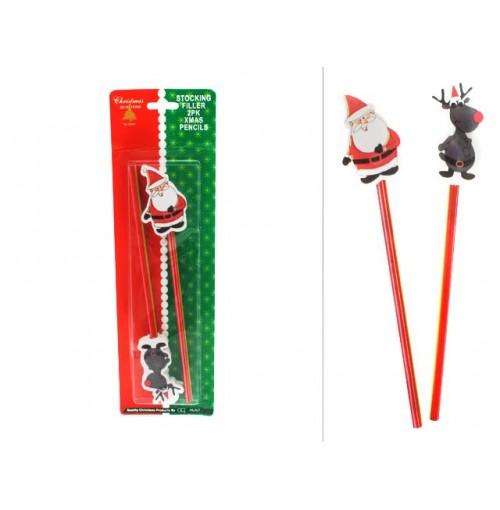 Pencils 2pk W/Erasers Stocking Filler Santa &Amp; Reindeer