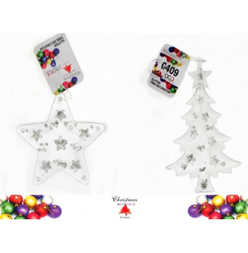 Tree Deco Plastic Clear With Glitter