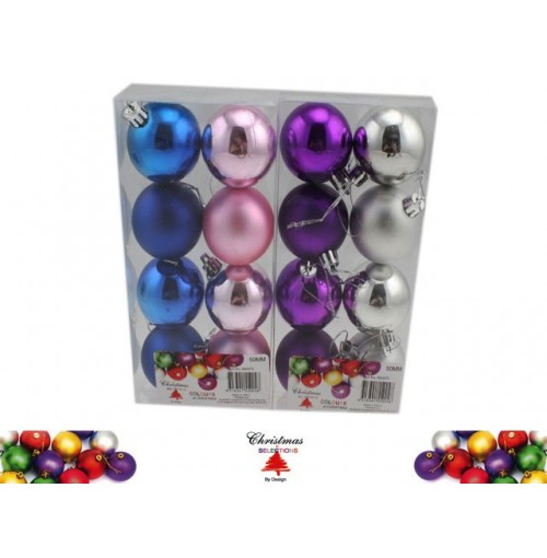 Bauble 8pk 50mm Festival Colrs Matt &Amp; Shiney