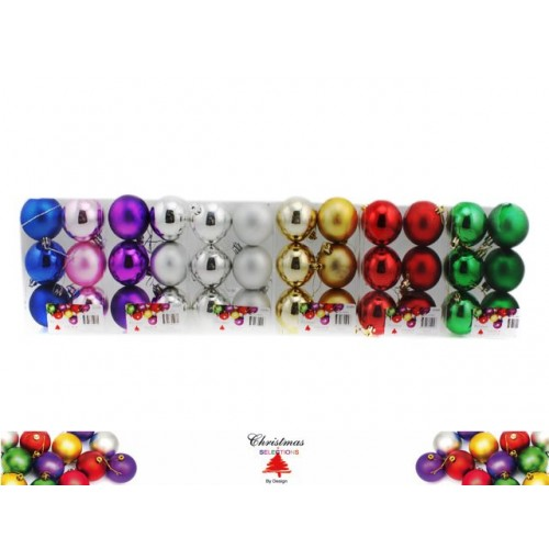 Bauble 6pk 60mm Festival Colrs