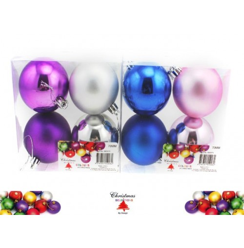 Bauble 4pk 70mm Festival Colrs