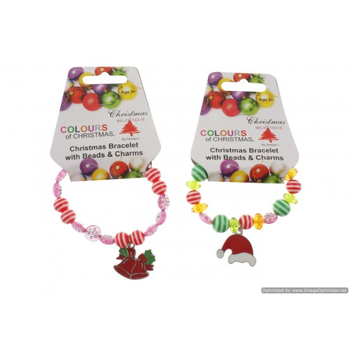 Xmas Bracelet Pandora Style W/ Charm 2 Asstd
