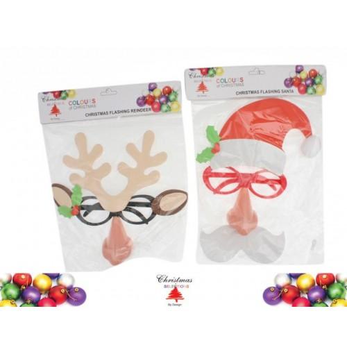 Xmas Flashing Santa & Reindeer Mask W/Nose & Glasses