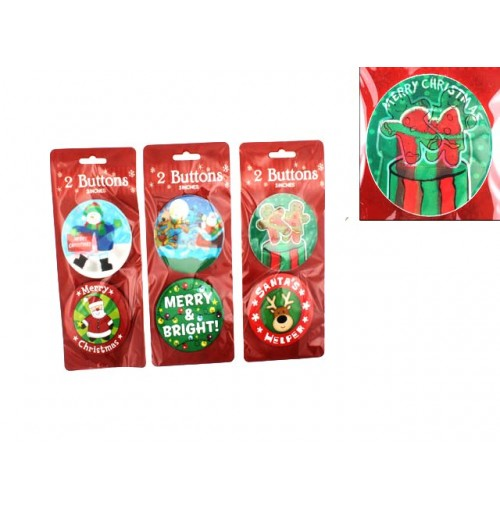 Badges Xmas 3d &Normal 2pk 7.3cm