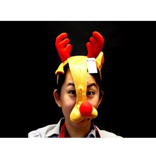 Mask Reindeer W/Red Nose &Amp; Horns