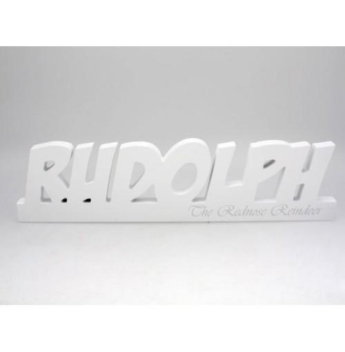 Xmas Inspirational Block Rudolph 27x8x2 Cm