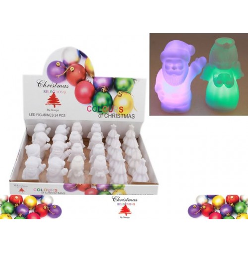 Xmas Led Figurines Colr Change In Dis 3 Asst