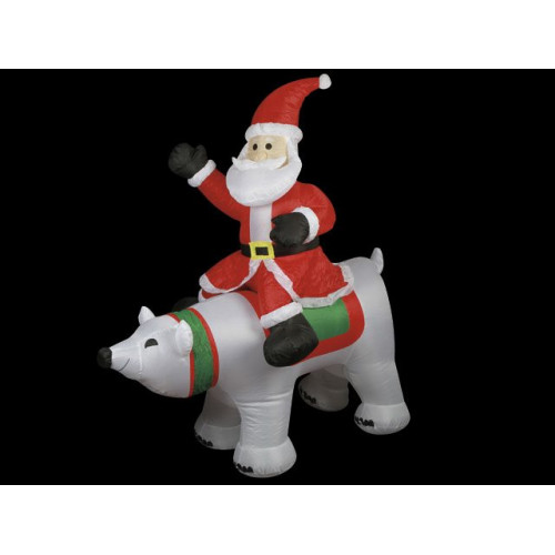 Inflatable Santa &Amp; Polar Bear 1.5m W/4 Lights 2m Ext