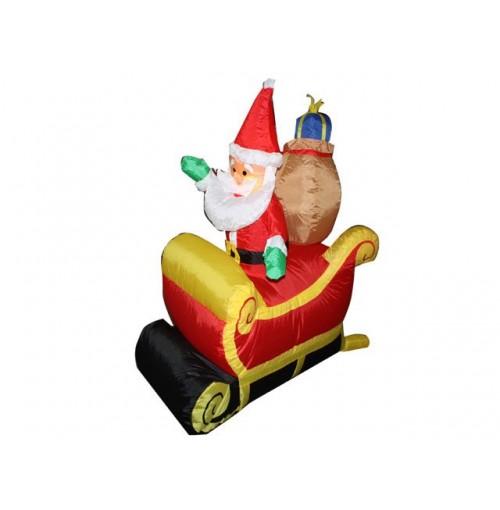 Inflatable Santa In Sleigh 1.2m W/Lights Indoor & Outdoor