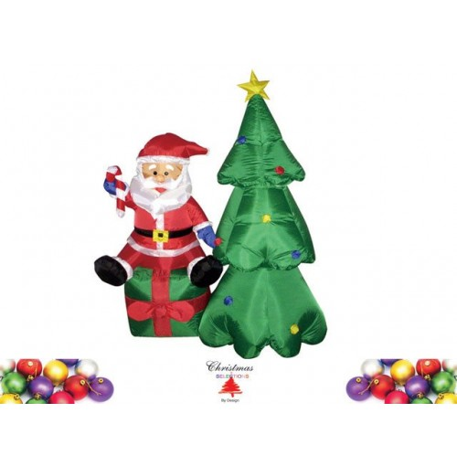 Christmas Tree With Santa On Giftbox 160cm Inflatable