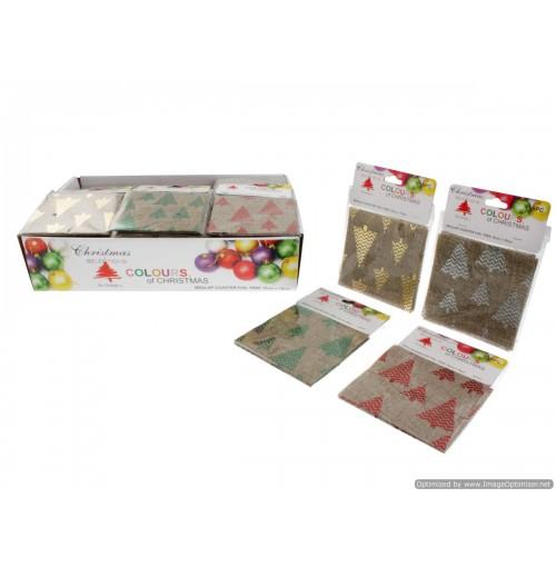 Burlap Coaster Foil Tree 8pce 10cm X 10cm In Disp 4 Asst