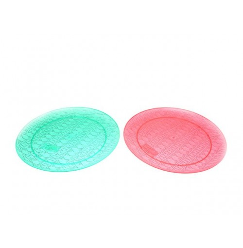 Plastic Serving Plate 35cm Red/Green Crystal Look