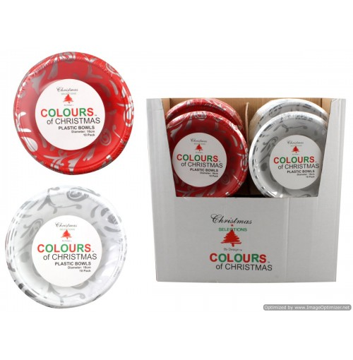 Plastic Bowl 18cm 10pk Red And White Silver Print Asst