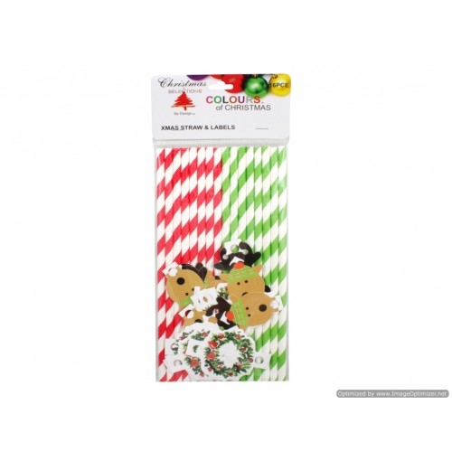Xmas Straw & Labels 16 Straws & Labels