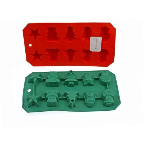 Ice Cube Tray Tree Design 2 Asst Green And Red 22cm