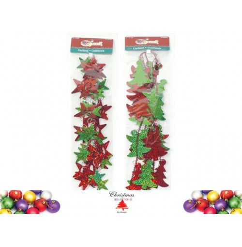 Xmas Tree And Star Lazer Garland 2.4m