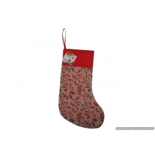 Xmas Burlap Glitter Stocking