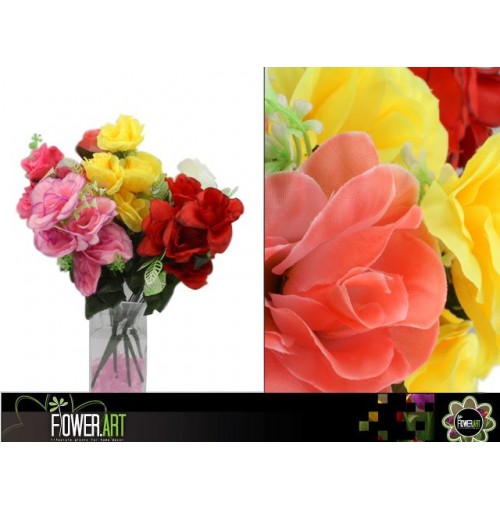 Rose Bunch Open 7 Head 42cm Colr