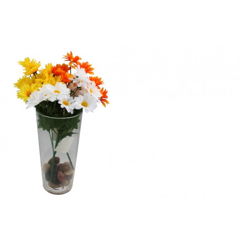 Mum Bush Flower Bunch 7 Heads 38cm 4 Asst Clrs