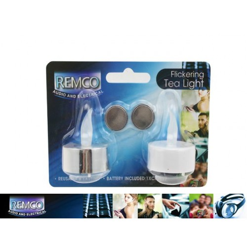 T/Light Flickering B/O 2pk White/Silver