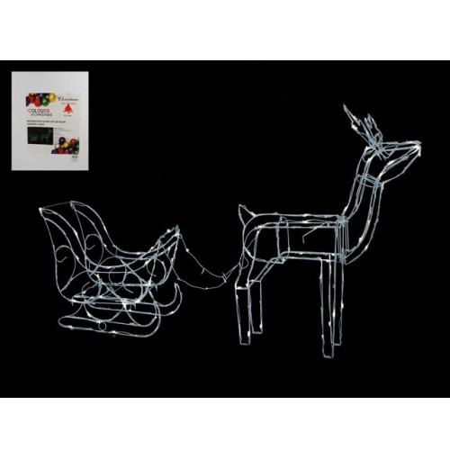 Reindeer W/Sleigh 190 Led Solar 70x15x80cm