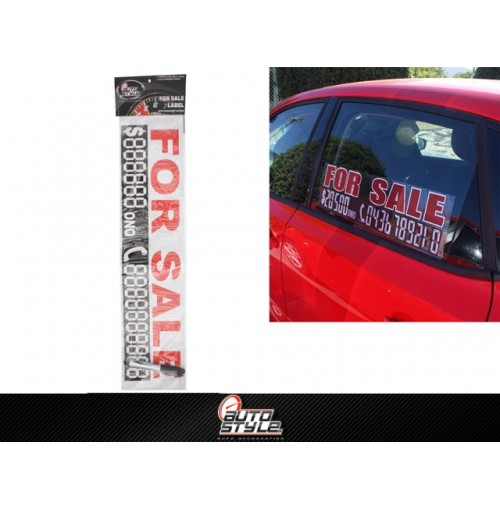 For Sale Car Label W/Permanent Marker 58 X 15cm