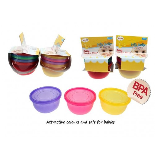 Snack Bowl And Lids Set Of 3