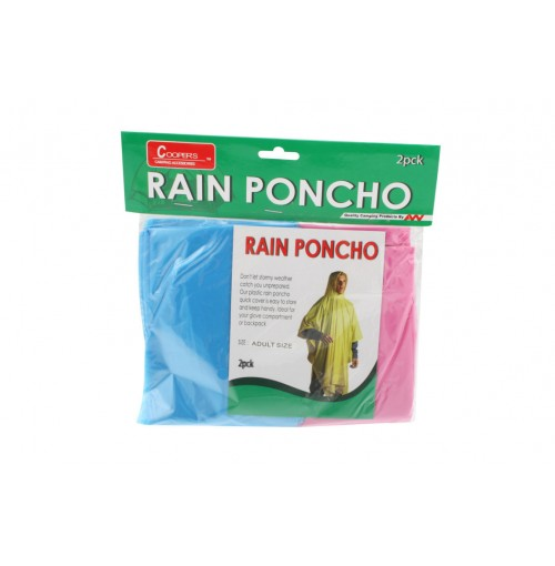 Poncho W/Hood Camping 2pk