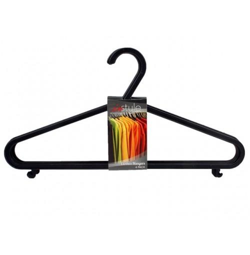 Hangers Plastic 6pk Black 24